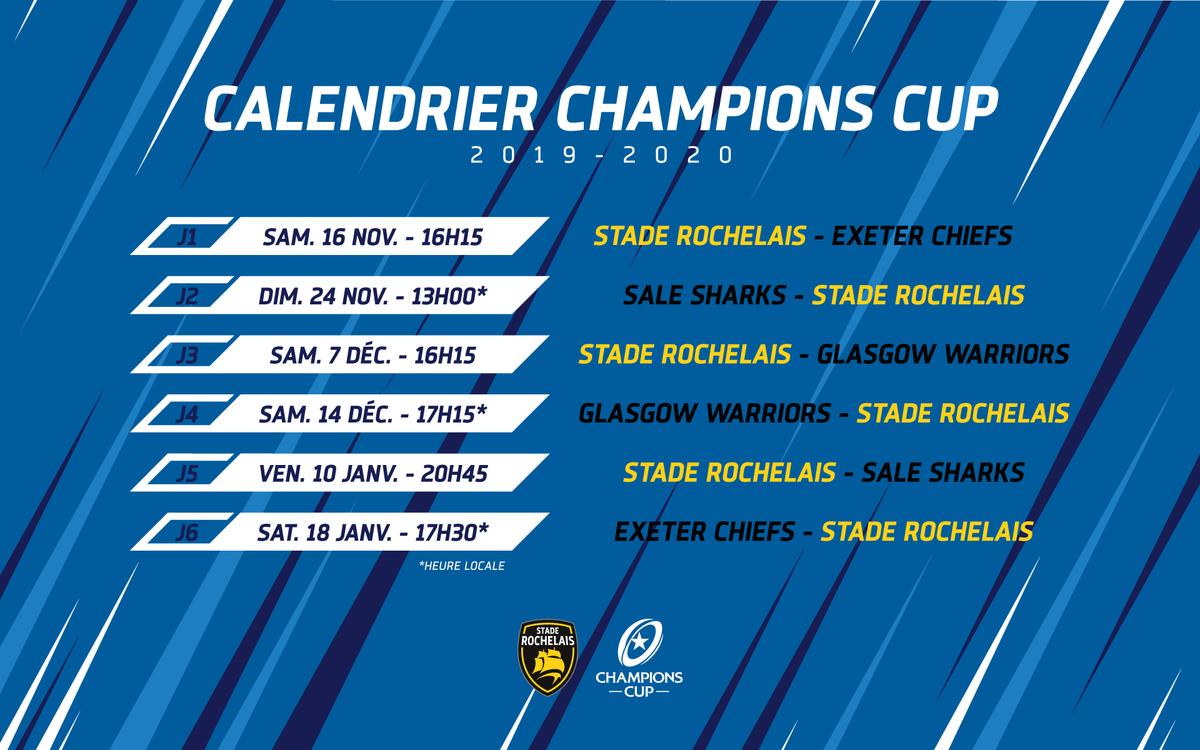 Calendrier Coupe D Europe Rugby 2020.Le Calendrier De La Champions Cup Devoile Stade Rochelais