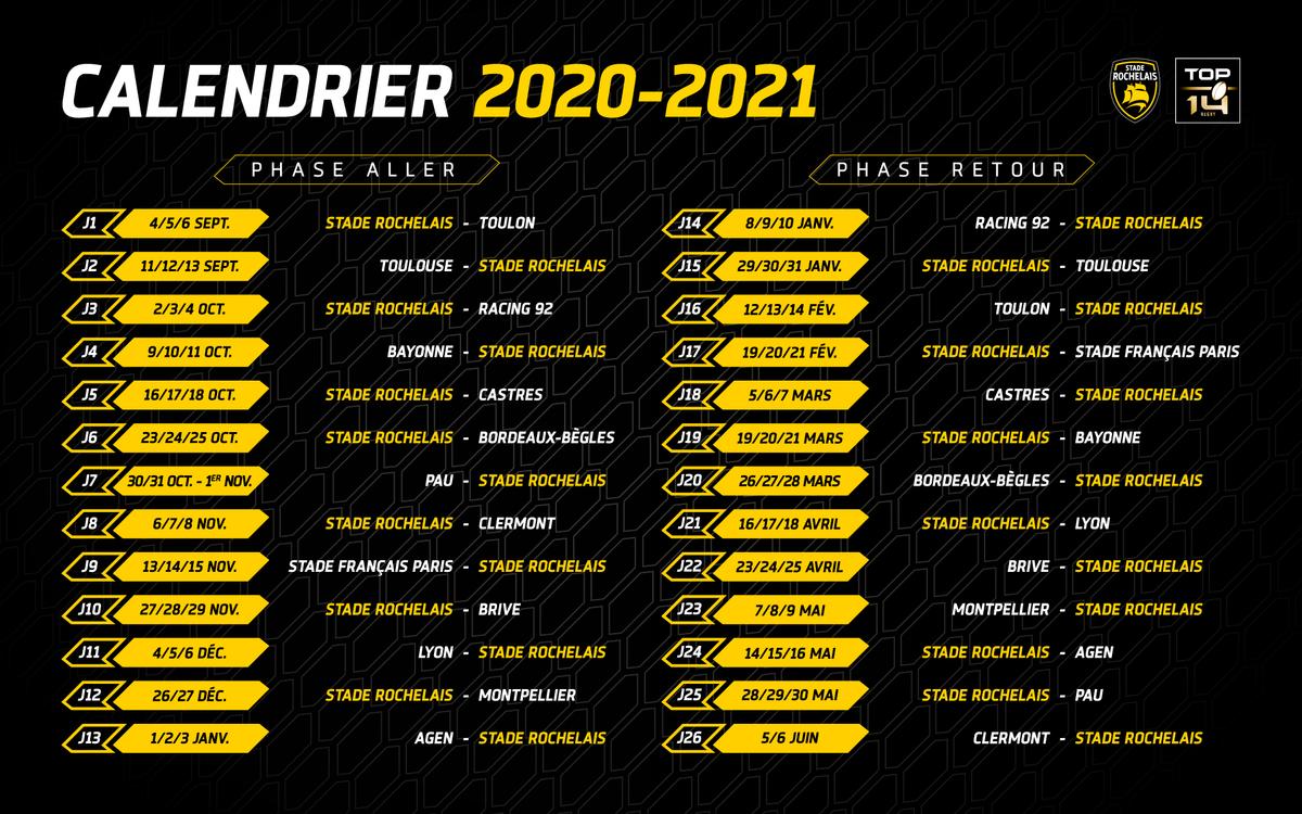 Top 14 Calendrier 2022 Le calendrier du Top 14 officialisé ! | Stade Rochelais