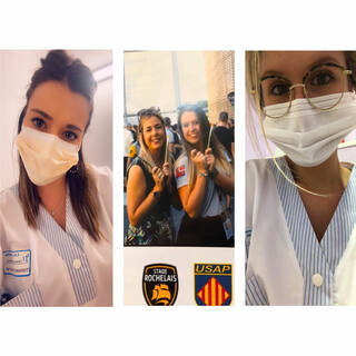 """Charline (gauche) Coralie (droite) - Étudiantes Infirmières en 3ème année - """"Maquilleuses au Stade Rochelais et soignantes dans la vrai vie.. Restez chez vous !!"""""""