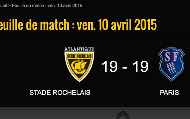 La Rochelle 19 - 19 Stade Français
