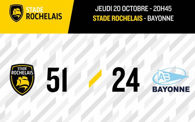 Victoire bonifiée 51-24 face à Bayonne !