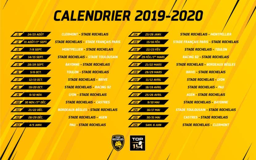 Calendrier Coupe D Europe Rugby 2020.Top 14 Le Calendrier Complet De La Saison 2019 2020